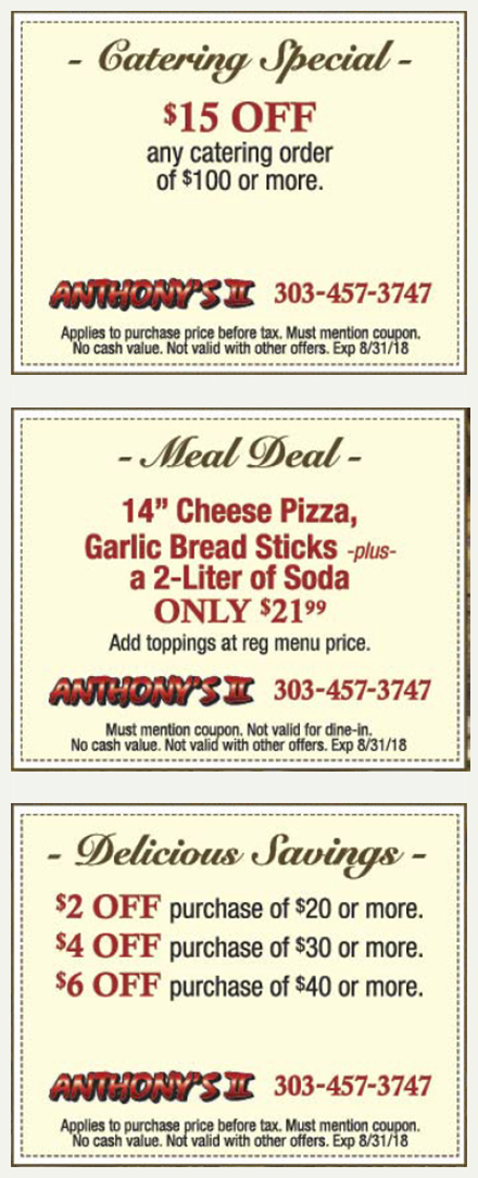 Anthonys Coupons